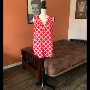 41 HAWTHORN red and cream sleeveless blouse
